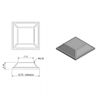 Clear Square Flat Bumpers 12.7 x 3.1mm